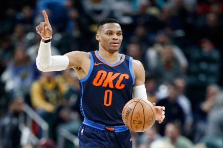 Russell Westbrook pushes a fan at the end of thegame