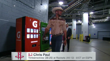 Chris Paul Dressed like a Cowboy