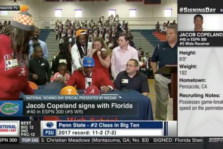 Football recruit's mom walks out after her son commits to the FloridaGators