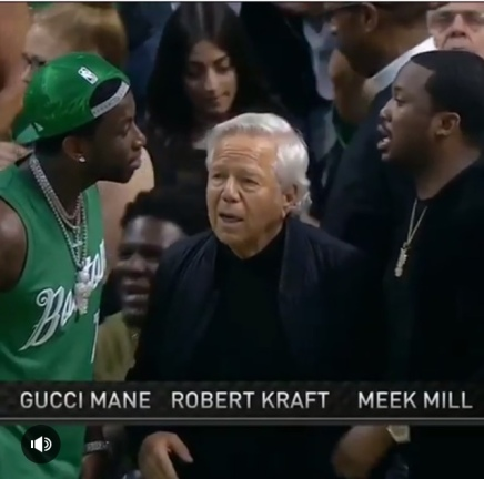 Robert Kraft chilling courtside with Gucci Mane and Meek Mill