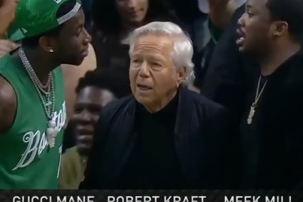Robert Kraft chilling courtside with Gucci Mane and MeekMill