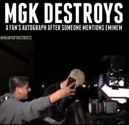 Machine Gun Kelly Destroys A Fan's Autograph When Eminem Is Mentioned 😂🤣  ( Viral Flame Network )