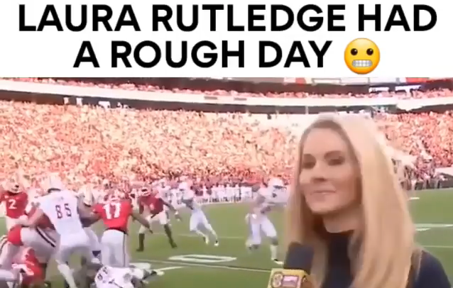 Funny Laura Rutledge Sideline Video ( Throw Back ) ( Viral Flame Network)