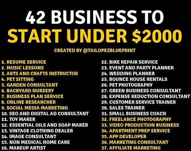 42 Businesses To Start For Under 2k ( Viral Flame Network)